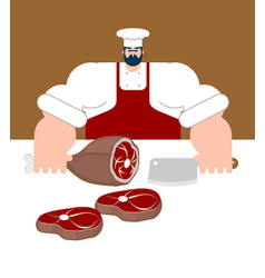 Butcher chef and knife for meat steak house cook vector