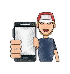 Cartoon man profile vector