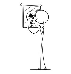 cartoon of man looking at yourself in mirror and vector image