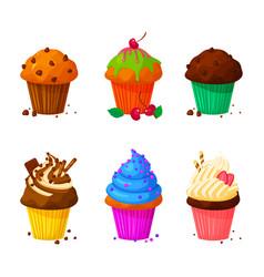 Cartoon of sweet cupcakes vector