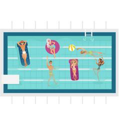 cartoon people in swimming pool blue vector image