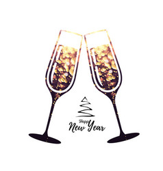 champagne glass icon with sparkle background vector image