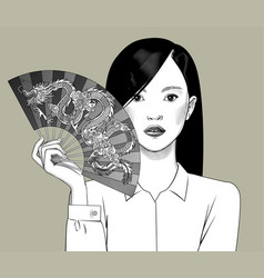 chinese girl holding a fan with a dragon in her vector image