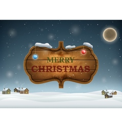Christmas Evening With Wooden Board vector image