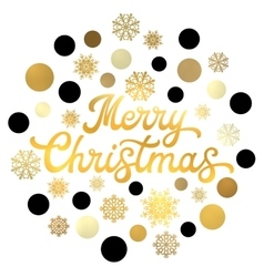 Christmas gold hand lettering with circles vector image