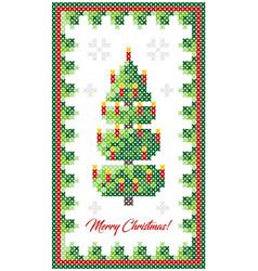 Christmas tree pattern scheme for needlework vector