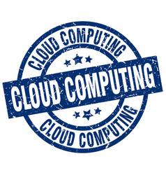 Cloud computing blue round grunge stamp vector
