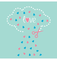 Cloud with hearts inside and scissors Love card vector