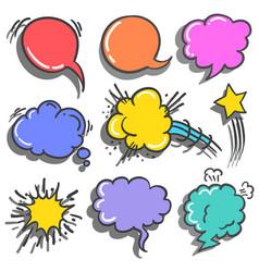 Collection style text balloon set vector