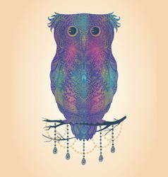 Colorful hand drawn owl sitting on branch vector