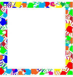 Colorful rainbow frame multicolored handprints vector