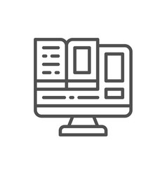 computer monitor with a book online education vector image