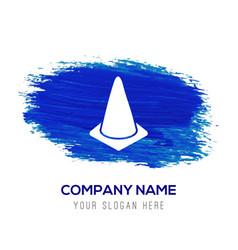 Cone icon - blue watercolor background vector