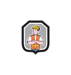 Construction Worker Arms Crossed Shield Cartoon vector