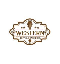 Country guitar music western vintage retro saloon vector
