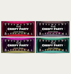 creepy halloween party banners scary animal jaw vector image