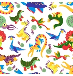 Cute baby dinosaurus pattern Dinosaur cartoon vector image