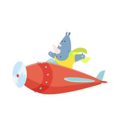 Cute rhinoceros flying an airplane with scarf vector