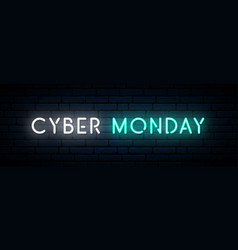 cyber monday neon sign long horizontal light vector image