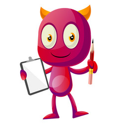 devil holding pencil and notebook on white vector image