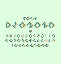 diamond volume font alphabet vector image
