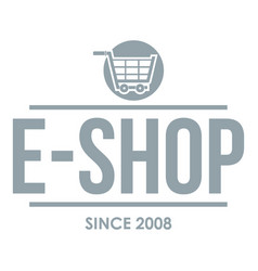 E shop logo simple gray style vector