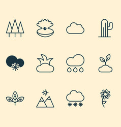 Ecology icons set with overcast mountains desert vector
