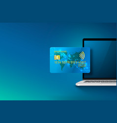 Electronic credit card and computer icon finance vector