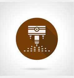 Engraving laser machine brown round icon vector