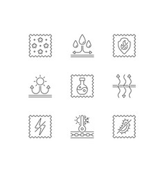 Fabric properties linear icons set vector