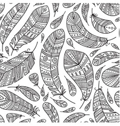 feathers seamless pattern in boho style vector image