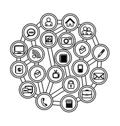 Figure buttons apps connections technology vector