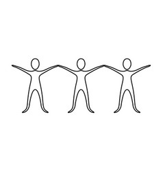 figure people with hands up icon vector image