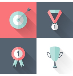 Flat career success icon set vector