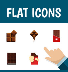Flat icon sweet set of cocoa shaped box vector