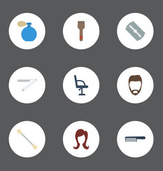 Flat icons hairstyle deodorant elbow chair and vector