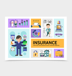 Flat insurance service infographic template vector
