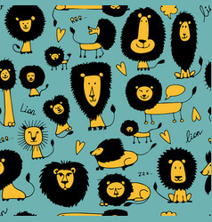 funny lions seamless pattern for your design vector image