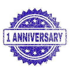 Grunge 1 anniversary stamp seal vector