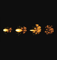 Gun flashes or gunshot animation fire explosion vector