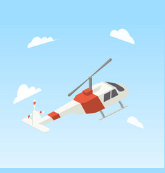Helicopter white and red color isometric vector