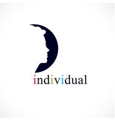 Individuality concept logo or icon woman face vector