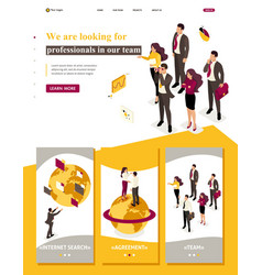 Landing page company employees looking professiona vector