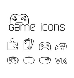Line game icons set on white background vector