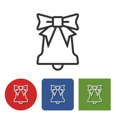 line icon of christmas bell vector image