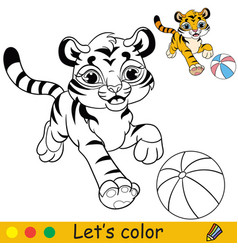 Little tiger with ball coloring with colorful vector
