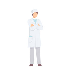 Male doctor character standing with folded hands vector