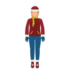 Man cartoon winter clothes vector