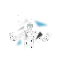 man with glasses of virtual reality future vector image
