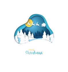 merry christmas paper art card vector image